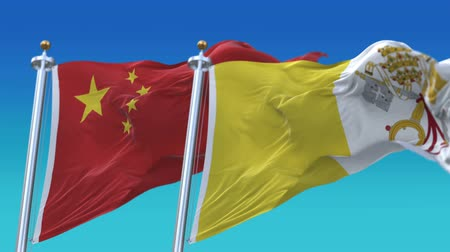 tédio : 4k Seamless Vatican and China Flags with blue sky background, A fully digital rendering, The animation loops at 20 seconds