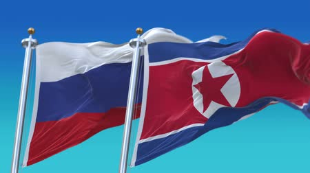 tédio : 4k Seamless North Korea and Russia Flags with blue sky background,A fully digital rendering,The animation loops at 20 seconds Stock Footage