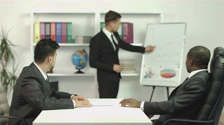 yönetim kurulu : The european manager and two businessmen discuss the project drawing. Shot with Red Cinema Camera