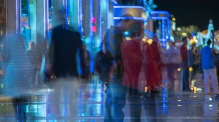 temp : The crowd of people in the street. Evening night time. Time lapse Stock Footage