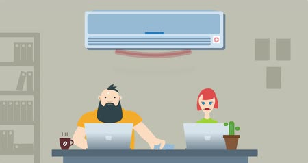 caricatura : Office war for air conditioning
