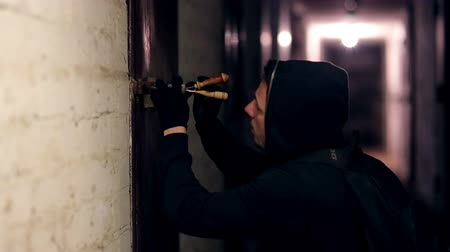 housebreaking : Thief hacking the lock Stock Footage