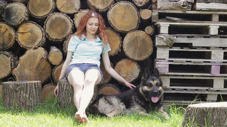 kobieta pies : Woman with her beautiful dog resting outdoors Wideo