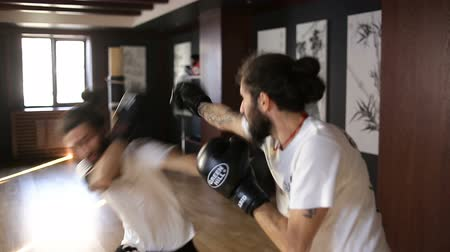contender : The twin brothers in boxing gloves sparring in the training hall. Chinese martial arts. Stock Footage