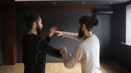 taiji : Twin brothers practicing tai chi blows in the training hall