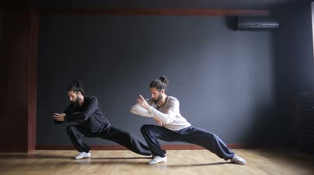Twins brothers practice Tai Chi in the training hall 影像素材