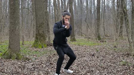 taiji : Master wushu and tai chi practiced in the forest in spring