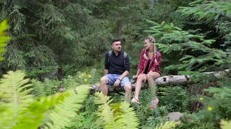 hátizsákkal : A couple of tourists rest in the woods sitting on a fallen tree