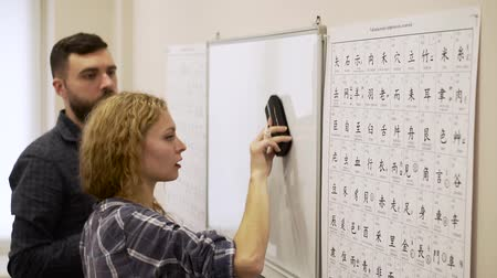 японский рисунок : Medium shot of young man and a woman study the hieroglyphs in the classroom together