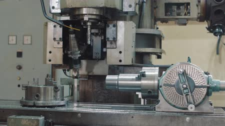 metal işi : Drilling holes in the workpiece Stok Video