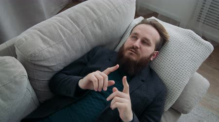psychotherapist : Man talking on the couch at the psychotherapist