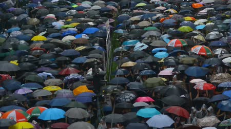crowd together : Hongkong, China - August 2019: Demonstration of people with umbrellas on street of Asian city on summer day. Demonstrators at rally in business district of Hong Kong. Crowded residents chant slogans in defense of demands in rainy weather. Concept: meeting Stock Footage