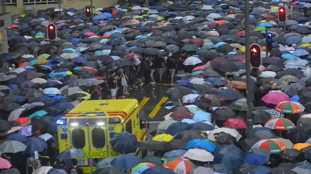 solidarność : Hongkong, China - August 2019:People with umbrellas walking on city street durung political meeting in Hong Kong. Adult man and woman protesters attend at demonstation in asian town on rainy day. Crowd defend rights and democracy in country. Concept: grou Wideo
