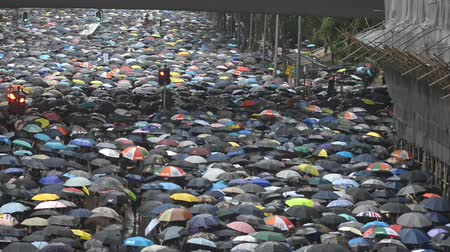 sistemas : Top view of peaceful meeting of five demands in downtown of Hong Kong. People with umbrellas in hands walking along city street in rainy weather. Crowd protests for social rights, attends in colorful demonstration. Concept: human, solidarity, march.