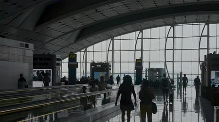 сумки : Hongkong, China - August 2019: silhouttes of people with baggage walking in airport terminal hall. blurred defocused shot of passengers sitting on seats. concept panoramic window, luggage, suitcase. lounge room Стоковые видеозаписи