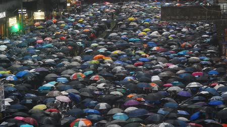 szlogen : Hongkong, China - August 2019: Massive crowds of protesters with umbrellas while marching through central street during rainy weather, peaceful assembly and anti government demonstrations. slogan