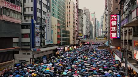 солидарность : Hong Kong, China - August, 2019: Top view of people with umbrellas walking along street of city on rainy day. Adults took part in peaceful rally of five demands in Hong Kong. Crowd is moving in asian town with modern buildings. Concept: meeting, metropoli Стоковые видеозаписи