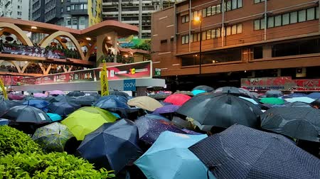 influence : Hong Kong, China - August, 2019: People with umbrellas walking along Hong Kong street during peaceful demonstration in summer. Closeup view of adults going in boulevard of metropolis with modern buildings. Colorful rally in support of five demands and rig
