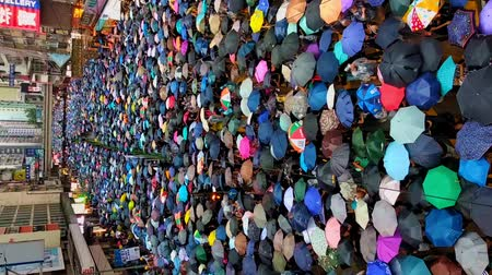 Hong Kong, China - August, 2019: vertical video. Beautiful aerial view of peaceful colorful demonstration in Hong Kong city on summer. Adult people with umbrellas in hands gathered for rally in support of five demands in asian town in rainy weather. Crowd Vidéos Libres De Droits