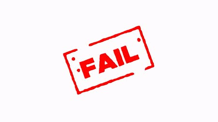 pul : Fail signed with red ink stamp zoom in and zoom out on white background (4K)