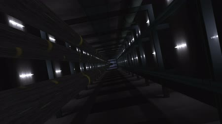 cordas : View in a elevator shaft, with moving cabine. camera is following (3d rendering) Vídeos