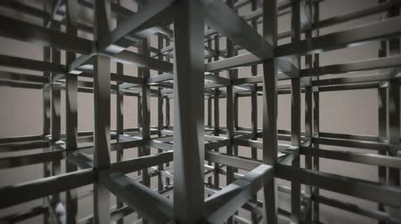 carrancudo : Grid Background with Rectangular Beams, the Camera is rotating inside and have Depth of Field (3D Rendering) Stock Footage