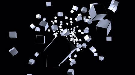 tipo : Background with simple cubes on black, moving and rotating to the center, looping (3D rendering)