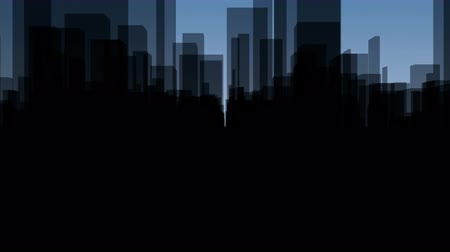 Flythrough a  dark Virtual City with a Background in Blue in 4K, useful for TV-Shows, Broadcasting, Events, Stage Backgrounds and many other applications... Stock Footage