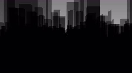 Flythrough a  dark Virtual City with a Background in Gray in 4K, useful for TV-Shows, Broadcasting, Events, Stage Backgrounds and many other applications... Stock Footage