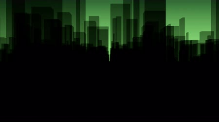 Flythrough a  dark Virtual City with a Background in Green in 4K, useful for TV-Shows, Broadcasting, Events, Stage Backgrounds and many other applications... Stock Footage