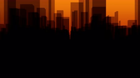 Flythrough a  dark Virtual City with a Background in Orange in 4K, useful for TV-Shows, Broadcasting, Events, Stage Backgrounds and many other applications... Stock Footage