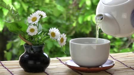 teacup : I poured green tea by a window. Stock Footage
