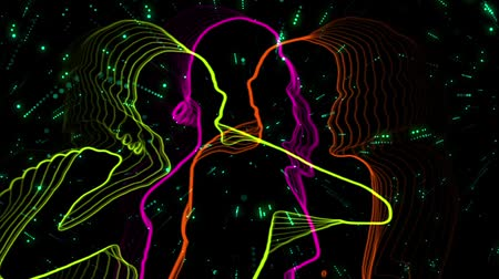 клуб : 3 dancing girls outlined silhouettes colored neon style with star trails background. Стоковые видеозаписи