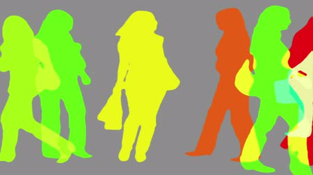 centrum handlowe : Women shopping color silhouettes. Wideo