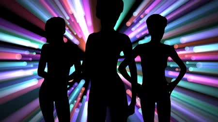 dövmek : Dancers silhouette with volumetric lights background.