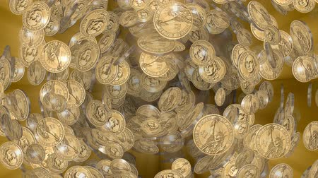 hoard : 1 Dollar coins seamless loop 4k