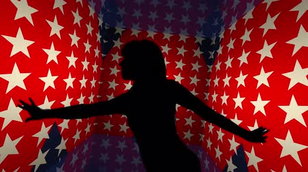 рэп : Dancer with geometrical 3d backdrop loop with US flag.