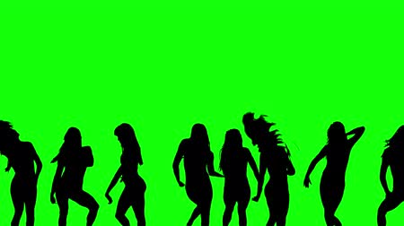 Dancing silhouettes green screen