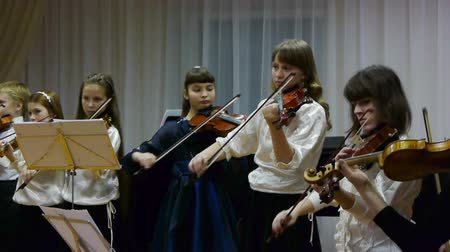 playing band : Kids orchestra playing at concert