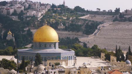 jerozolima : Dome of the Rock mosque in Jerusalem, aerial view Wideo