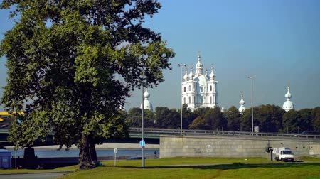 САИТ : Traffic on viaduct near Smolny Cathedral at sunny summer day in Saint Petersburg, Russia Стоковые видеозаписи