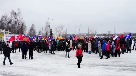 anti war : PETROZAVODSK, RUSSIA, MARCH 16, 2014: Russian people protest against war in Crimea and support democracy in Crimea. Today Crimea votes in referendum on whether to rejoin Russia or stay with Ukraine.