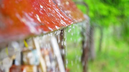 çatı : Rain drops running down the cottage roof