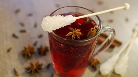 bögre : Studio Shot of Mulled Wine in a mug with clove, cinnamon stick and anise stars, full HD