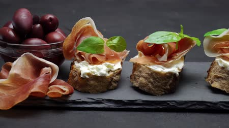 antipasti : Bruschetta with prosciutto and cream cheese