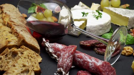 jamon : Traditional Italian food and Red wine Stock Footage