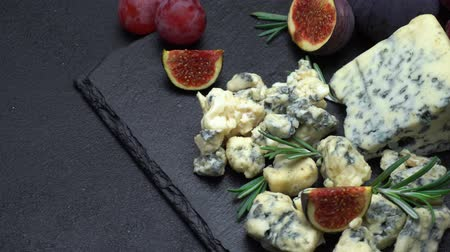 dorblu : Video of roquefort or dorblu cheese and fig