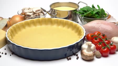 chicken recipes : shortbread dough for baking quiche tart and ingredients in baking form