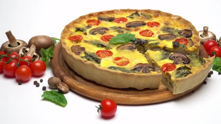 cheese slices : Traditional french Baked homemade quiche pie isolated