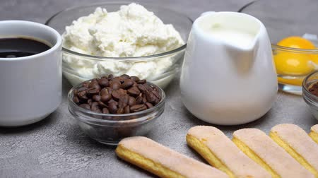 fasola : Ingredients for cooking tiramisu Savoiardi biscuit cookies, mascarpone, cream, sugar, cocoa